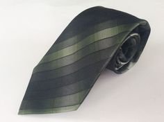 Arrow Neck Tie Green Black Striped 100% Silk #Arrow #NeckTie