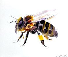Bee, Original watercolor painting, 8 X 10 in, honey maker, bee art, animal art
