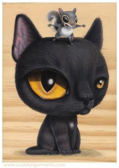 gato con ratón Cuddlyrigormortis.com