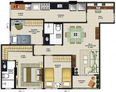 3 bedroom house plans: see 60 modern design ideas Home Building Design, Home Design Plans, Building A House, Sims House Plans, House Floor Plans, Model House Plan, Luxury House Plans, Apartment Plans, Bedroom House Plans