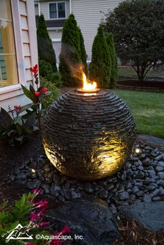 Ideas: Small Space Water Features Stacked Slate Sphere - the perfect small space water feature for any yard or landscape - Aquascape Inc.Stacked Slate Sphere - the perfect small space water feature for any yard or landscape - Aquascape Inc. Sphere Water Feature, Modern Water Feature, Diy Water Feature, Backyard Water Feature, Large Water Features, Outdoor Water Features, Water Features In The Garden, Garden Water Fountains, Small Fountains