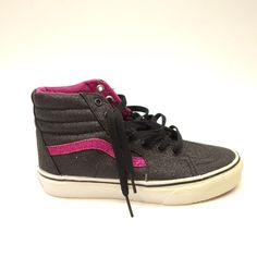 0fab5a16406 New Vans Kids Sk8-Hi Black Pink Glitter Casual High Top Skate Shoes Size 3.5