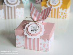Stampin Up Box boîte de goodie emballage Giveaway enveloppe Conseil poinçon de découpage et de timbre pour les enveloppes Falzbrett Dotty Anges Parlez tampon avec l'étiquette 025