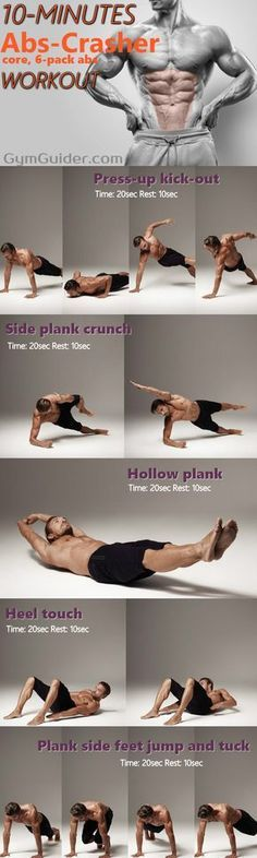 10 minute ab workout can be enough to get six pack abs or flatter stomach! Abs Workout - At Home Abs and Obliques Exercises with No Equipment. By now the majority of us know that a lean, toned stomach or six pack abs takes a lot more than just a bunch of abdominal workouts.