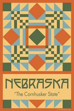 Olde America Antiques | Quilt Blocks | National Parks | Bozeman Montana : 50 STATE QUILT BLOCK SERIES - NEBRASKA - version 1