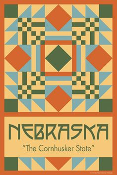NEBRASKA quilt block. Ready to sew. Single 4x6 block $4.95.