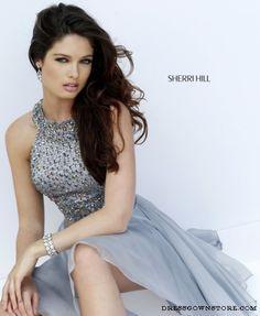 Sherri Hill 11290 Silver Short Halter Top Beaded Homecoming Dress