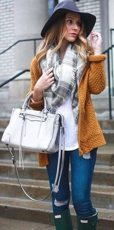 #pretty #winter #outfits / Black Hat // Printed Scarf // Mustard Cardigan // Ripped Jeans // White Leather Tote Bag