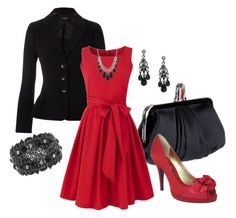 """""""Color Duo - Black and Red"""" by stylesbyjoey ❤ liked on Polyvore featuring Christian Louboutin, Hobbs, People Tree, 1928, Nina, dresses, red pumps, satin clutches, black jewelry and blazers"""