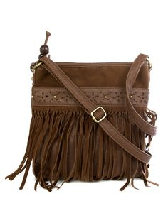 """Dress up your outfit with this fringe fashion handbag that is a perfect size to hold all your essentials. Details include perforated flower detail, bead tassel zip closure, fabric lining, adjustable shoulder handle and inside zip pocket and 2 open pockets. 2.5"""" W x 8"""" L x 9.5"""" H (31"""" with strap). Imported. FINAL SALE, NON-RETURNABLE."""