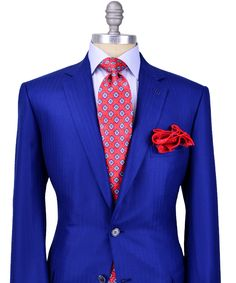 Dapper blue suit with red contrast - Brioni Blue Herringbone Sportcoat #men #style #suit