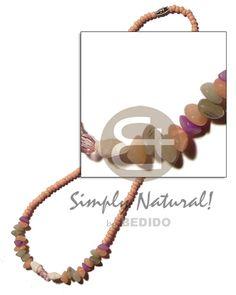 2-3 Pink Coco Pokalet  Pastel Multicolored Buri Seed Nuggets Coconut Necklace