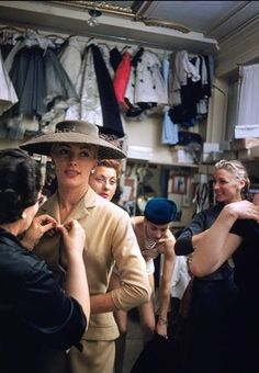 Backstage at the Pierre Balmain couture show, Paris, 1954 (photo by Mark Shaw) Pierre Balmain, Balmain Paris, Color Photography, Fashion Photography, 1950s Fashion, Vintage Fashion, Celebrity Photographers, French Fashion Designers, Dior Couture