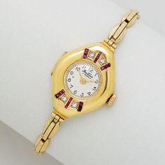 Lady's 18k Gold, Ruby and Diamond Wristwatch, Bentima