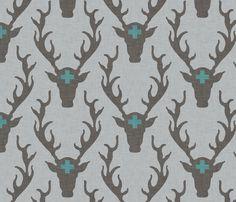 deer_head_marine fabric by holli_zollinger on Spoonflower - custom fabric, wallpaper & giftwrap