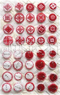 Items similar to Martisor - Brooch, Fantasy Motifs, Traditional - Folk, Crocheted and Sewn by Hand on Etsy Beginning Of Spring, Red And White, Trending Outfits, Unique Jewelry, Handmade Gifts, Diy, Kid Craft Gifts, Bricolage, Handcrafted Gifts