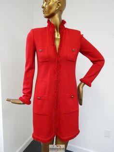 St-John-Collection-Red-Santana-Knit-Fringe-Long-Jacket-Coat-4-USA