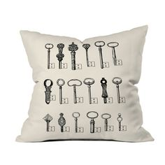 Lock and Key Throw Pillow
