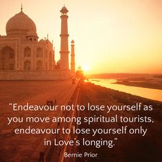 """Endeavour not to lose yourself as you move among spiritual tourists, endeavour to lose yourself only in Love's longing. World Teachers, All Souls, Losing You, Awakening, Taj Mahal, Spirituality, Journey, Love, Pictures"