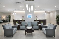 Our Custom Chiropractic Designs help deliver a personalized office layout that will increase the effectiveness of your practice and help with the healing of your patients. Medical Office Interior, Optometry Office, Medical Office Design, Healthcare Design, Waiting Room Design, Waiting Area, Law Office Decor, Office Lobby, Office Waiting Rooms
