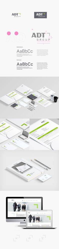 Complete identification for technologies company ADT GROUP (Poland) - logo, brochures, stationery, website Graphic Projects, Warsaw Poland, Corporate Identity, Brochures, Stationary, Layouts, Branding, Group, Website