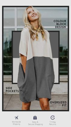 Premium linen blend relaxed fit dress with drop shoulders side pockets. 60 Fashion, Minimal Fashion, Kimono Fashion, Plus Size Fashion, Fashion Dresses, Womens Fashion, Girl Outfits, Casual Outfits, Cute Outfits