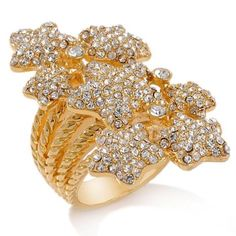 hsn Paula Abdul Lucky Yellow Gold GP 7 Pave Couture Cluster Star Ring Sz 10 #PaulaAbdul #Cluster