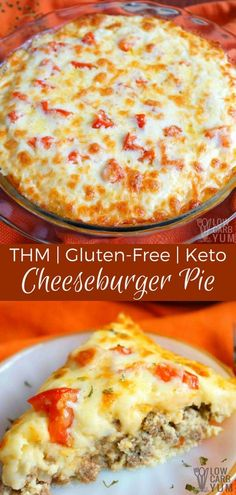 This simple keto low carb cheeseburger pie recipe has been made gluten free and THM friendly by using a coconut flour mixture instead of regular flour. #lowcarb #glutenfree #keto #ketorecipe #THM #cheeseburgerpie | LowCarbYum.com