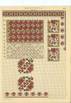 "Carte ""Cusaturi romanesti"", Elena Bratianu, 1940 Folk Embroidery, Embroidery Patterns, Cross Stitch Patterns, Romania, Bohemian Rug, Balloons, Projects To Try, Lily, Traditional"