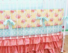 Baby Girl Crib Bedding Coral Aqua Yellow by LottieDaBaby on Etsy, $385.00