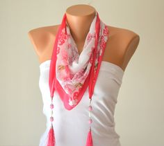 cotton scarfhot pink hand made silky cotton tringle by bstyle, $15.00