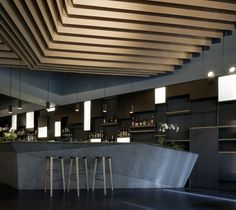 "K-Studio: ""The brief we were given called for an exclusive Japanese restaurant and bar in the northern suburbs of Athens. Within the extensive, open-plan space we needed to combine a sushi bar, a Restaurant Hotel, Restaurant Design, Restaurant Interiors, H Design, Design Studio, Detail Design, Cafe Design, Bar Lounge, Lounge Chairs"