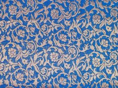 Fat quarter blue and gold  Indian silk brocade by EverythingIndian, $3.50