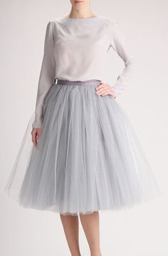 Lovely Clusters - Beautiful Shops: Grey tulle skirt, Handmade long skirt, Handmade tutu skirt