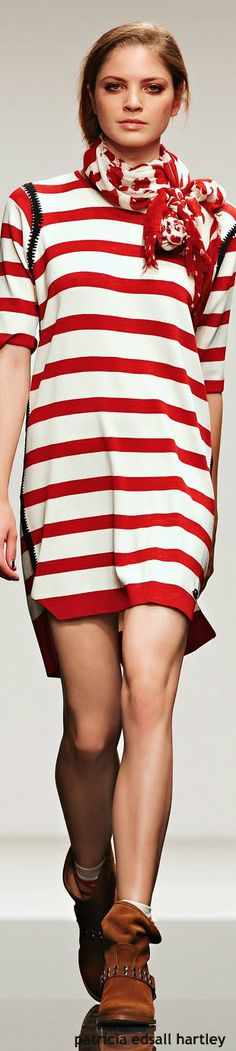 Twin-Set Jeans - SS 2015. White and red striped dress. Summer beach wear street women fashion outfit clothing style apparel @roressclothes closet ideas