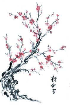 Ideas cherry blossom tree tattoo meaning style for 2019 Cherry Blossom Art, Pink Blossom, Chinese Blossom, Japanese Blossom, Cherry Blossom Meaning, Blossom Tree Tattoo, Blossom Trees, Chinese Painting, Chinese Art