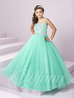 Check out the deal on Tiffany Princess 13498 Girls Rhinestone Pageant Dress at French Novelty Girls Pageant Dresses, Pageant Gowns, Little Girl Dresses, Flower Girl Dresses, Tulle Ball Gown, Tulle Dress, Ball Gowns, Mint Dress, Fancy Dress