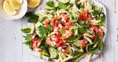 We've reimagined classic prawn cocktail as a creamy pasta salad, perfect for entertaining. It's also ready in just 25 minutes. Creamy Pasta Salads, Easy Pasta Salad, Pasta Salad Recipes, Easy Salads, Summer Salads, Seafood Recipes, Noodle Recipes, Prawn Salad, Couscous Salad