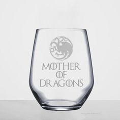 Game of Thrones wine glass, game of thrones gift, GOT wine glass, stemless wine glass, mother of dragons wine glass, mother of dragons gift