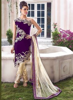 Purple Velvet Pant Style Salwar Suit | Item Code: 2453