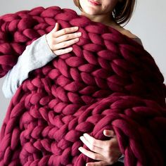 Wool Knitted Chunky Blanket