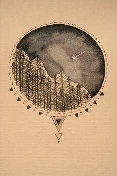 tattoo watercolour painting desiderata max erhmann sky silhouette forest trees shooting star night