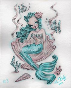 Teal Hair Mermaid Sitting in a Clamshell  by artist Claudette Barjoud, a.k.a Miss Fluff on Etsy. #mermaids #mermaidart #mermaidstyle #missfluff