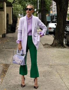 here I am wearing the lilac blazer from the collab.let me know any questions or requests below! Lila Outfits, Outfits Mujer, Work Fashion, Fashion 2020, Fashion Looks, Fashion Trends, Latest Fashion, Fashion Ideas, Green Blazer