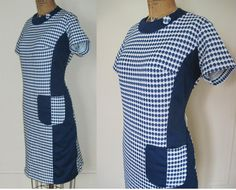 vintage 60s Blue & White Diamonds and Stripes by FASHIONRERUN