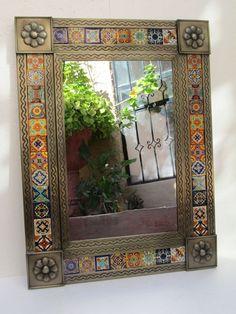 PUNCHED TIN MIRROR mixed talavera tile mexican folk art mirrors wall decoration #Handmade #Southwestern