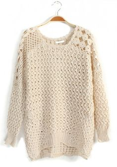 Beige Hollow-out Long Sleeve Loose Wool Blend Pullover