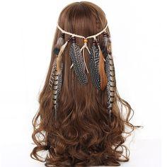Wish - Shopping Made Fun Feather Headdress, Feather Headband, Boho Headband, Headpiece, Headbands, Feather Hair, Peacock Hair, Feather Jewelry, Headband Hair