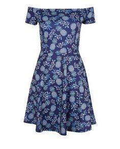 Blue Tropical Pineapple Print Bardot Neck Skater Dress   New Look