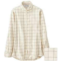 UNIQLO Women Idlf Flannel Check Long Sleeve Shirt ($40) ❤ liked on Polyvore featuring tops, round top, white collared shirt, long sleeve collared shirt, flannel shirts and checkered shirt